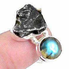 15.25cts natural campo del cielo labradorite 925 silver ring size 8 p26098