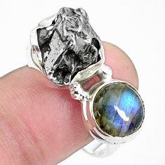 925 silver 15.25cts natural campo del cielo labradorite ring size 9 p26099