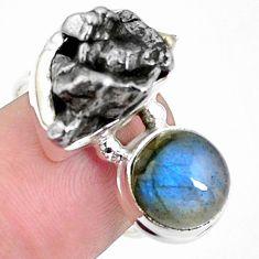 15.25cts natural campo del cielo labradorite 925 silver ring size 7 p26100