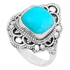 925 silver 5.75cts natural green peruvian amazonite solitaire ring size 9 p26294