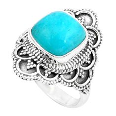 5.75cts natural green peruvian amazonite silver solitaire ring size 7.5 p26300