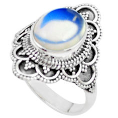 5.41cts natural white opalite 925 silver solitaire ring jewelry size 9.5 p26323