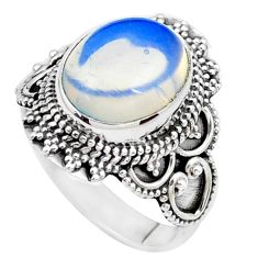 5.52cts natural white opalite 925 silver solitaire ring jewelry size 8 p26326