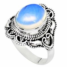 5.69cts natural white opalite 925 silver solitaire ring jewelry size 9.5 p26328