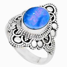 Natural blue doublet opal australian 925 silver solitaire ring size 7 p26333