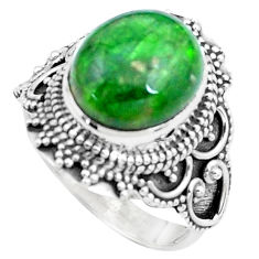 5.07cts natural green chrome diopside 925 silver solitaire ring size 7 p26343