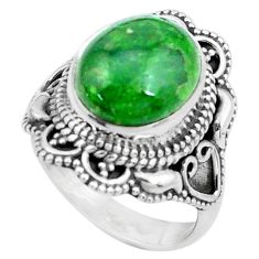 925 silver 5.52cts natural green chrome diopside solitaire ring size 6 p26344