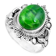 5.31cts natural green chrome diopside 925 silver solitaire ring size 8 p26347