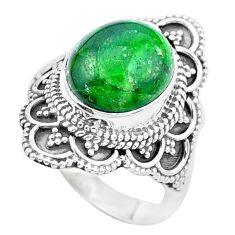 925 silver 5.75cts natural green chrome diopside solitaire ring size 7 p26348