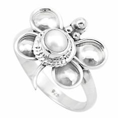 0.97cts natural white pearl 925 silver butterfly solitaire ring size 7 p26767