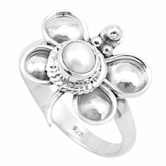 0.97cts natural white pearl 925 silver butterfly solitaire ring size 8.5 p26768