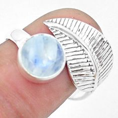 3.31cts natural rainbow moonstone 925 silver solitaire leaf ring size 8 p26771