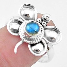Natural blue labradorite 925 silver butterfly solitaire ring size 8.5 p26772