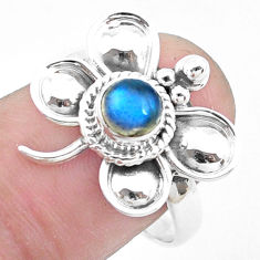925 silver natural blue labradorite butterfly solitaire ring size 8 p26773