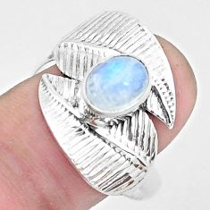 1.96cts natural rainbow moonstone 925 silver solitaire leaf ring size 9.5 p26774
