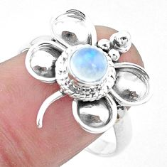 Natural rainbow moonstone 925 silver butterfly solitaire ring size 9 p26775