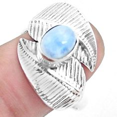 2.21cts natural rainbow moonstone 925 silver solitaire leaf ring size 9 p26776