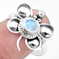 925 silver natural rainbow moonstone butterfly solitaire ring size 9 p26777