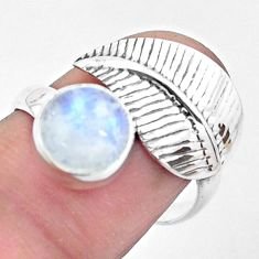 3.73cts natural rainbow moonstone 925 silver solitaire leaf ring size 10 p26779