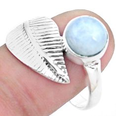 3.05cts natural rainbow moonstone 925 silver solitaire leaf ring size 7.5 p26780