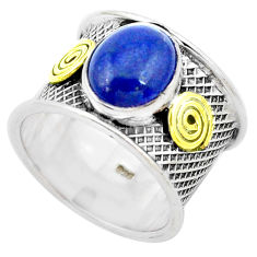 Natural blue lapis lazuli 925 silver two tone solitaire ring size 7.5 p26803