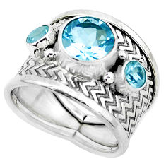 5.63cts natural blue topaz 925 silver two tone solitaire ring size 7 p26812