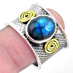 Natural blue labradorite 925 silver two tone solitaire ring size 8.5 p26816