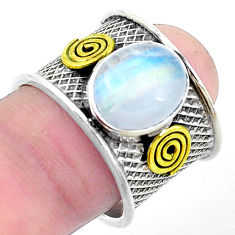 925 silver natural rainbow moonstone two tone solitaire ring size 7.5 p26819