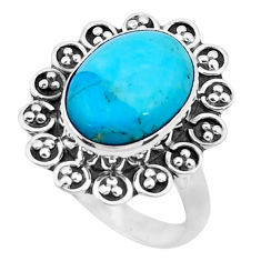 6.10cts blue arizona mohave turquoise 925 silver solitaire ring size 7.5 p26838