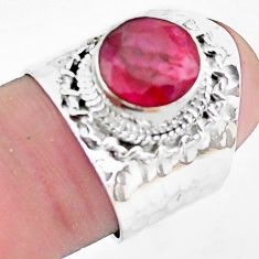 4.12cts natural red ruby 925 sterling silver solitaire ring size 6.5 p26881