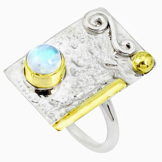 1.37cts victorian natural rainbow moonstone silver two tone ring size 7 p27078