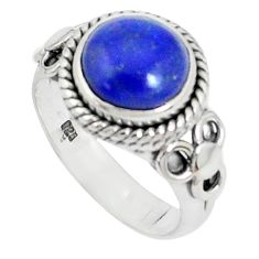 5.07cts natural blue lapis lazuli 925 sterling silver ring jewelry size 7 p27080