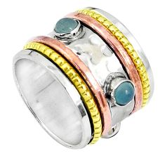 925 silver victorian natural aqua chalcedony two tone spinner ring size 7 p27119