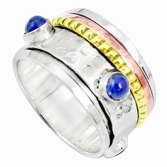 Victorian natural blue lapis lazuli silver two tone spinner ring size 9 p27127