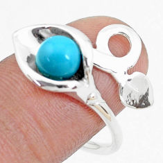 2.41cts blue sleeping beauty turquoise 925 silver adjustable ring size 8 p27185