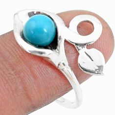 925 silver blue sleeping beauty turquoise round adjustable ring size 9 p27186