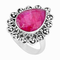 925 sterling silver 6.02cts natural red ruby pear solitaire ring size 7 p27409