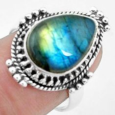 925 silver 6.83cts natural blue labradorite pear solitaire ring size 7.5 p27483