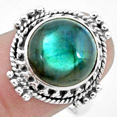 5.87cts natural blue labradorite 925 silver solitaire ring size 8.5 p27489