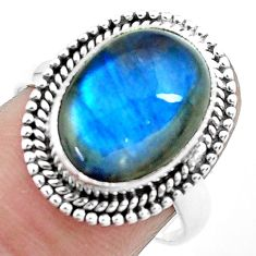 925 silver 6.31cts natural blue labradorite oval solitaire ring size 7.5 p27499
