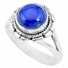 4.52cts natural blue lapis lazuli 925 silver solitaire ring size 8.5 p27543