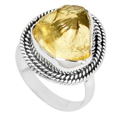 9.47cts yellow citrine rough 925 silver solitaire ring jewelry size 6.5 p27591