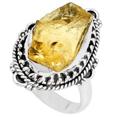 925 silver 11.44cts yellow citrine rough solitaire ring jewelry size 7 p27593