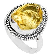 9.86cts yellow citrine rough 925 silver solitaire ring jewelry size 8 p27595