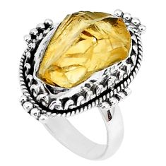 10.85cts yellow citrine rough 925 silver solitaire ring jewelry size 7 p27596