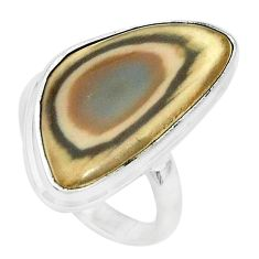 15.39cts natural green imperial jasper 925 silver solitaire ring size 8 p27683