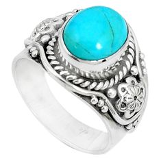 5.38cts natural green kingman turquoise silver solitaire ring size 8.5 p27702