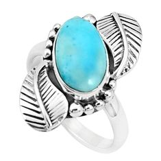 4.55cts natural blue larimar 925 silver solitaire ring jewelry size 7.5 p27705