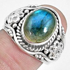 5.08cts natural blue labradorite 925 silver solitaire ring jewelry size 7 p27717