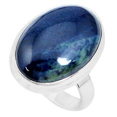 15.39cts natural black vivianite 925 silver solitaire ring jewelry size 8 p27762